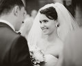 Bride meets groom on a wedding day black and white Royalty Free Stock Photography
