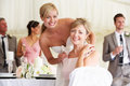Bride with mother at wedding reception smiling to camera Stock Photo