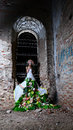 Bride in the old ruined church at night room of destroyed Royalty Free Stock Photo