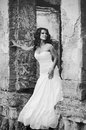 Bride in the old ruins, black and white Royalty Free Stock Photo