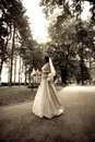 Bride in park Stock Photography