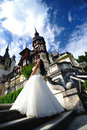 Bride at the Peles Castle Stock Photography