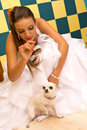 Bride with pet dog Royalty Free Stock Photography