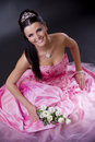 Bride in pink Stock Photo