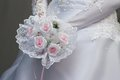 Bride with pink flowersbouquet roses bouquet Stock Photography