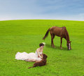 Bride playing with animal on green field beautiful is horse and dog Stock Photography