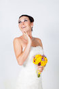 Bride portrait beautiful brunette in studio Stock Photography