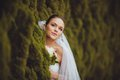 Bride portrait over green trees outdoor beautiful closeup Royalty Free Stock Photography