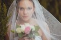 Bride portrait over green trees outdoor beautiful closeup under veil Stock Images