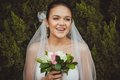 Bride portrait over green trees outdoor beautiful smiling closeup Royalty Free Stock Photos
