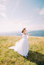 Bride posing on the golden autumn field with a beautiful hill landscape behind her Royalty Free Stock Photo