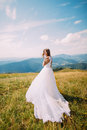 Bride posing on the golden autumn field with a marvelous mountain landscape behind her Royalty Free Stock Photo