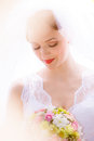 Bride posing in her wedding day Stock Images