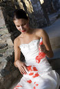 Bride with Red Paint Stock Photo
