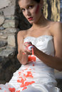 Bride with Red Paint Stock Photos