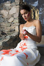 Bride with Red Paint Stock Images