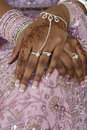 Bride's Hand With Henna Tattoo, Indian Wedding Stock Photos