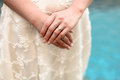 Bride showing her ring closeup of a engagement or wedding Royalty Free Stock Photo