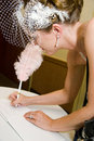 Bride Signing Wedding Register Royalty Free Stock Photography