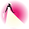 Bride silhouette with hat on pink background Stock Photo