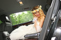 Bride sits in the car wedding Royalty Free Stock Photography