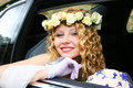 Bride sits in the car wedding Royalty Free Stock Images