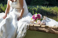 Bride a sitting at nature Royalty Free Stock Photos