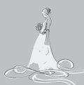 Bride sketch of beautiful young in white dress Stock Image