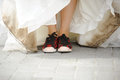 Bride in Sneakers Stock Photo