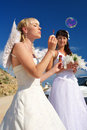 Bride with soup bubbles Royalty Free Stock Images