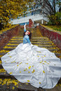 Bride on stairs beautiful in magnificent dress stands alone in autumn day Stock Photography