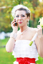 Bride talking Royalty Free Stock Photo