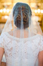 Bride veil view from back Stock Images