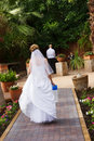 Bride walking to groom Royalty Free Stock Photos