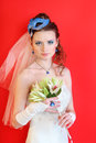 Bride wearing dress with blue mask in hairdo Stock Photo