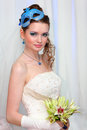 Bride wearing in white dress with blue makeup Stock Images