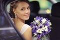 Bride in  wedding car Royalty Free Stock Photo