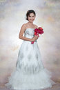 Bride with wedding dress young looking Royalty Free Stock Images