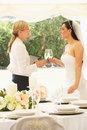 Bride with wedding planner in marquee drinking champagne Stock Photography
