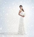 A bride in a white dress on a snowy background Stock Image