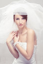 Bride in white veil Stock Images