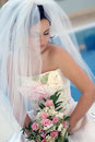 Bride in white wedding dress Royalty Free Stock Image