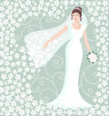 Bride in white wedding gown happy bridal with decorative floral background vector illustration Stock Photo