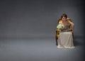 Bride woman unhappy in solitude mode Royalty Free Stock Photo