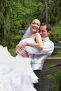 Bridegroom and bride on the wedding in park Stock Image
