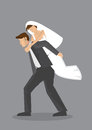 Bridegroom Piggyback Bride Vector Cartoon Character Illustration