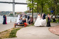 Brides near the bosphorus in istanbul turkey april local are coming for photo sessions Stock Images