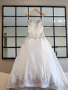 Brides wedding dress photo of a bride s hanging Royalty Free Stock Images