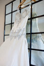 Brides wedding dress photo of a bride s hanging Royalty Free Stock Photography