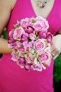 Bridesmaid Holding Bouquet Stock Photo